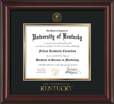Image of University of Kentucky Diploma Frame - Mahogany Lacquer - w/Embossed Seal & Wordmark - Black on Gold mat