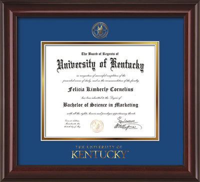 Image of University of Kentucky Diploma Frame - Mahogany Lacquer - w/Embossed Seal & Wordmark - Royal Blue on Gold mat