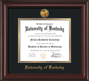 Image of University of Kentucky Diploma Frame - Mahogany Lacquer - w/24k Gold-Plated Medallion UKY Name Embossing - Black on Gold mats