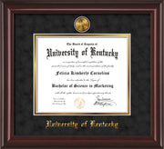 Image of University of Kentucky Diploma Frame - Mahogany Lacquer - w/24k Gold-Plated Medallion UKY Name Embossing - Black Suede on Gold mats