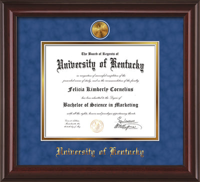 Image of University of Kentucky Diploma Frame - Mahogany Lacquer - w/24k Gold-Plated Medallion UKY Name Embossing - Royal Blue Suede on Gold mats