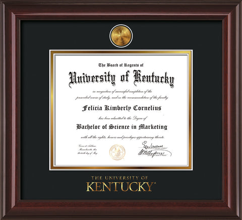 Image of University of Kentucky Diploma Frame - Mahogany Lacquer - w/24k Gold-Plated Medallion UKY Wordmark Embossing - Black on Gold mats