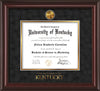 Image of University of Kentucky Diploma Frame - Mahogany Lacquer - w/24k Gold-Plated Medallion UKY Wordmark Embossing - Black Suede on Gold mats