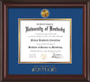 Image of University of Kentucky Diploma Frame - Mahogany Lacquer - w/24k Gold-Plated Medallion UKY Wordmark Embossing - Royal Blue on Gold mats
