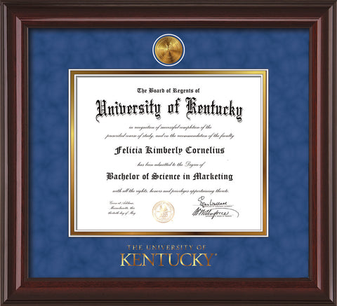 Image of University of Kentucky Diploma Frame - Mahogany Lacquer - w/24k Gold-Plated Medallion UKY Wordmark Embossing - Royal Blue Suede on Gold mats