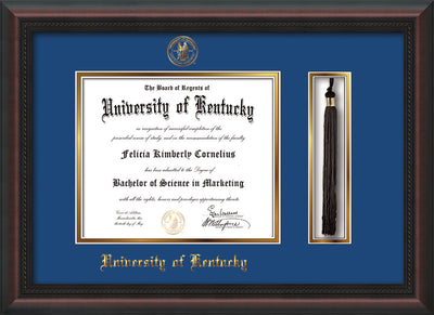 Image of University of Kentucky Diploma Frame - Mahogany Braid - w/Embossed Seal & Name - Tassel Holder - Royal Blue on Gold mat