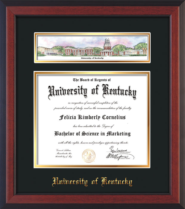 Image of University of Kentucky Diploma Frame - Cherry Reverse - w/Embossed School Name - Campus Collage - Black on Gold mat