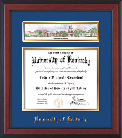 Image of the University of Kentucky Diploma Frame - UKy - Cherry Reverse - w/Embossed School Name - Campus Collage - Blue on Gold mat