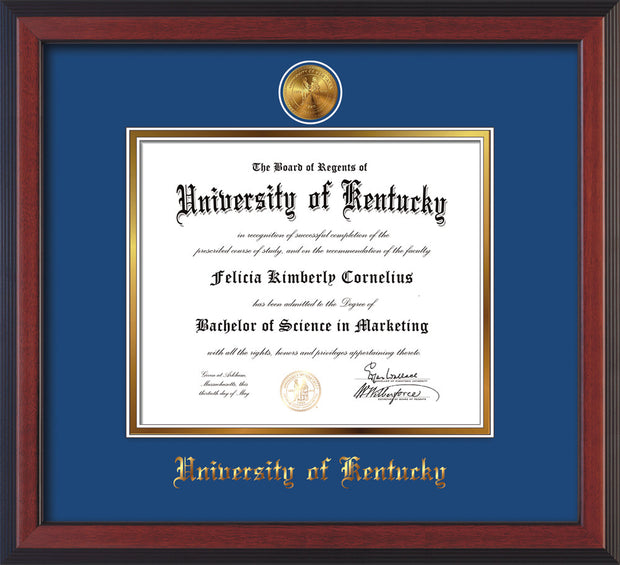 Image of University of Kentucky Diploma Frame - Cherry Reverse - w/24k Gold-Plated Medallion UKY Name Embossing - Royal Blue on Gold mats