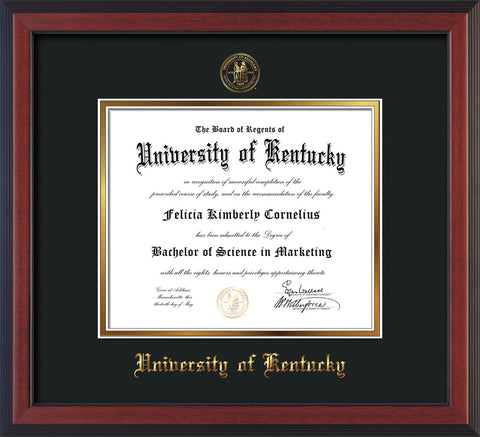 Image of University of Kentucky Diploma Frame - Cherry Reverse - w/Embossed Seal & Name - Black on Gold mat