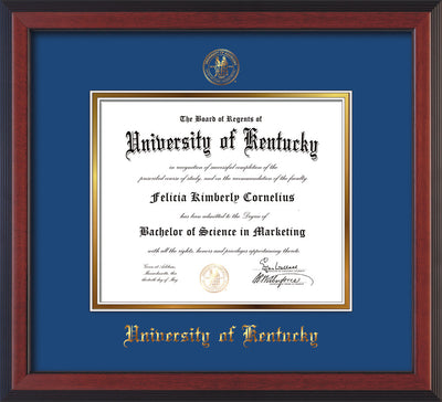 Image of University of Kentucky Diploma Frame - Cherry Reverse - w/Embossed Seal & Name - Royal Blue on Gold mat
