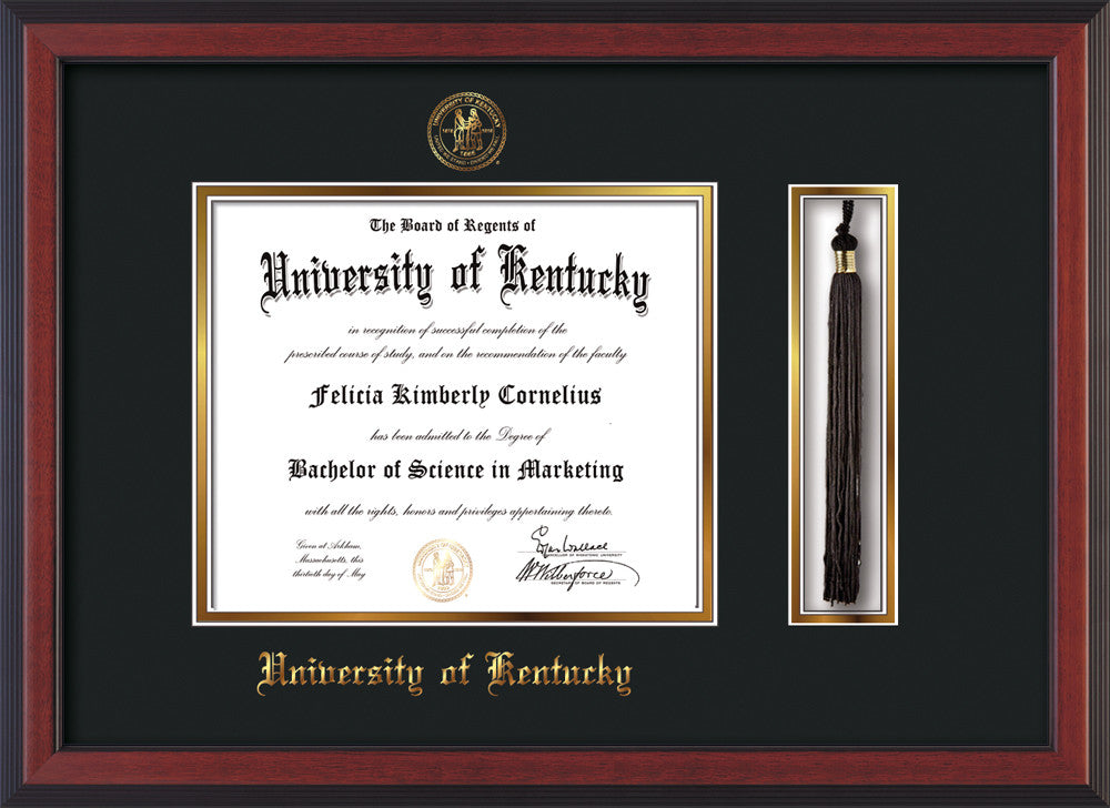 Univ. of Kentucky Diploma Frame - Cherry Lacquer -Tassel - Black on ...