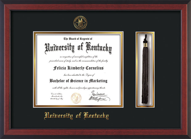 Image of University of Kentucky Diploma Frame - Cherry Reverse - w/Embossed Seal & Name - Tassel Holder - Black on Gold mat