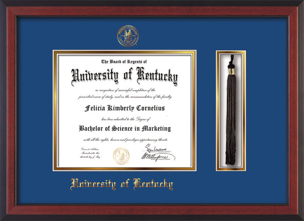 Image of University of Kentucky Diploma Frame - Cherry Reverse - w/Embossed Seal & Name - Tassel Holder - Royal Blue on Gold mat