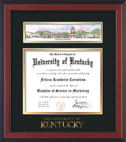 Image of University of Kentucky Diploma Frame - Cherry Reverse - w/Embossed School Wordmark Only - Campus Collage - Black on Gold mat