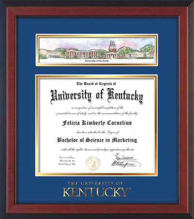 Image of University of Kentucky Diploma Frame - Cherry Reverse - w/Embossed School Wordmark Only - Campus Collage - Royal Blue on Gold mat