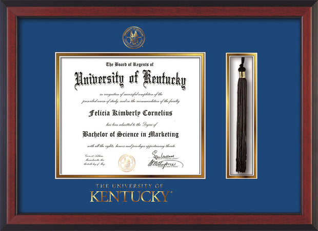 Image of University of Kentucky Diploma Frame - Cherry Reverse - w/Embossed Seal & Wordmark - Tassel Holder - Royal Blue on Gold mat