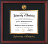 Image of University of Kentucky Diploma Frame - Cherry Reverse - w/24k Gold-Plated Medallion UKY Name Embossing - Black on Gold mats