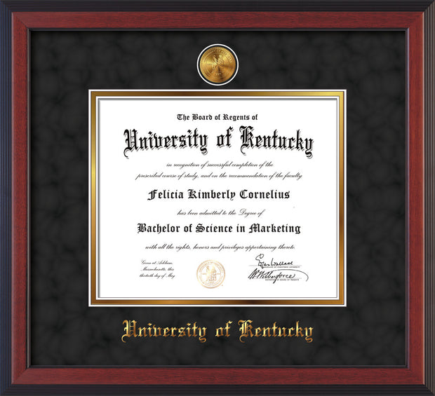Image of University of Kentucky Diploma Frame - Cherry Reverse - w/24k Gold-Plated Medallion UKY Name Embossing - Black Suede on Gold mats