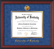 Image of University of Kentucky Diploma Frame - Cherry Reverse - w/24k Gold-Plated Medallion UKY Name Embossing - Royal Blue Suede on Gold mats