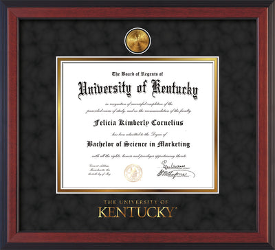 Image of University of Kentucky Diploma Frame - Cherry Reverse - w/24k Gold-Plated Medallion UKY Wordmark Embossing - Black Suede on Gold mats