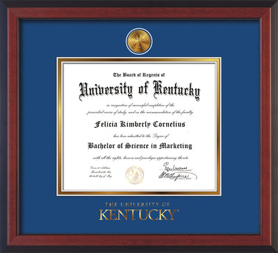 Image of University of Kentucky Diploma Frame - Cherry Reverse - w/24k Gold-Plated Medallion UKY Wordmark Embossing - Royal Blue on Gold mats