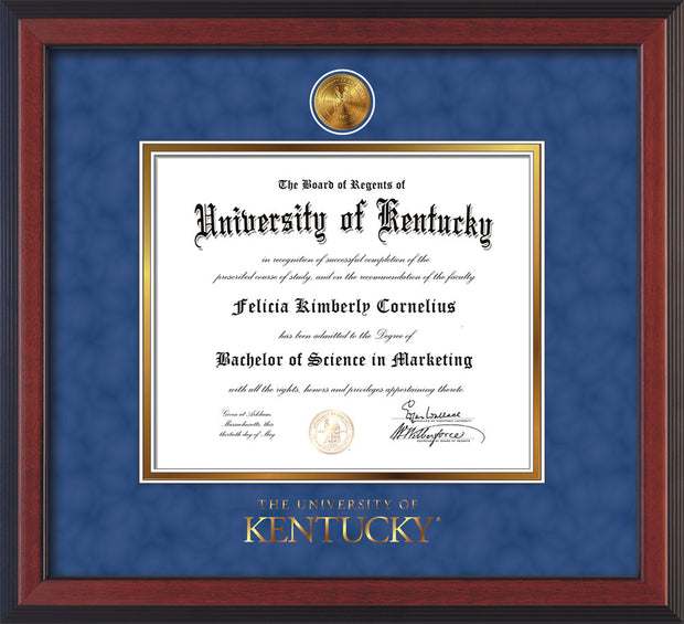 Image of University of Kentucky Diploma Frame - Cherry Reverse - w/24k Gold-Plated Medallion UKY Wordmark Embossing - Royal Blue Suede on Gold mats