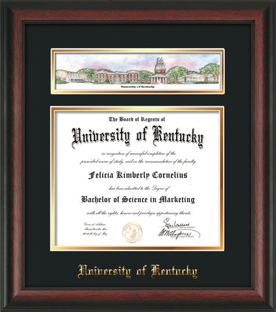 Image of the University of Kentucky Diploma Frame - Rosewood - w/Embossed School Name - Campus Collage - Black on Gold mat