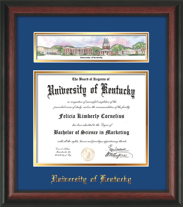 Image of the University of Kentucky Diploma Frame - UKy - Rosewood - w/Embossed School Name - Campus Collage - Blue on Gold mat