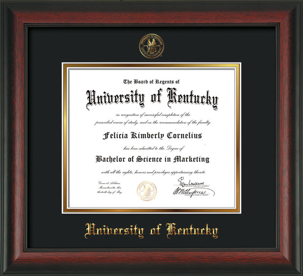 Image of University of Kentucky Diploma Frame - Rosewood - w/Embossed Seal & Name - Black on Gold mat