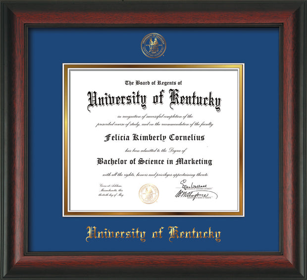 Image of University of Kentucky Diploma Frame - Rosewood - w/Embossed Seal & Name - Royal Blue on Gold mat