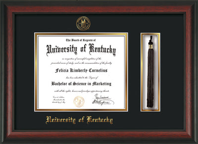 Image of University of Kentucky Diploma Frame - Rosewood - w/Embossed Seal & Name - Tassel Holder - Black on Gold mat