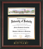 Image of University of Kentucky Diploma Frame - Rosewood - w/Embossed School Wordmark Only - Campus Collage - Black on Gold mat
