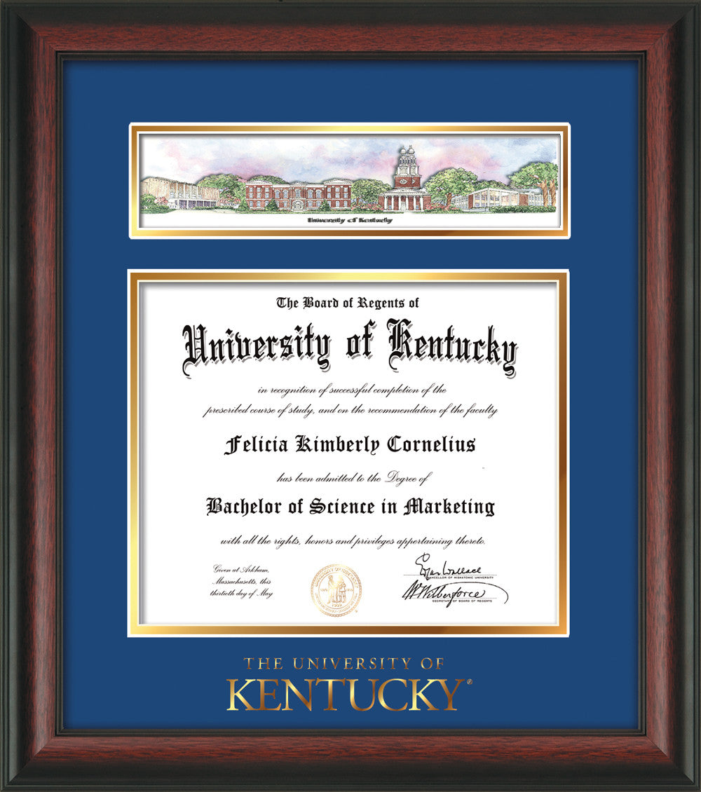 University of Kentucky Diploma Frame-Rosewood-Collage-Word-Blue/Gold ...