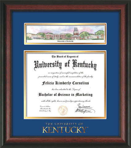 Image of University of Kentucky Diploma Frame - Rosewood - w/Embossed School Wordmark Only - Campus Collage - Royal Blue on Gold mat