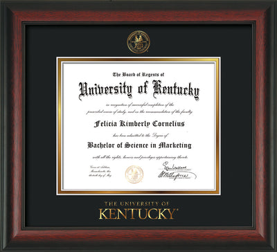 Image of University of Kentucky Diploma Frame - Rosewood - w/Embossed Seal & Wordmark - Black on Gold mat