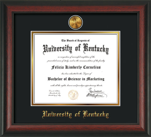Image of University of Kentucky Diploma Frame - Rosewood - w/24k Gold-Plated Medallion UKY Name Embossing - Black on Gold mats