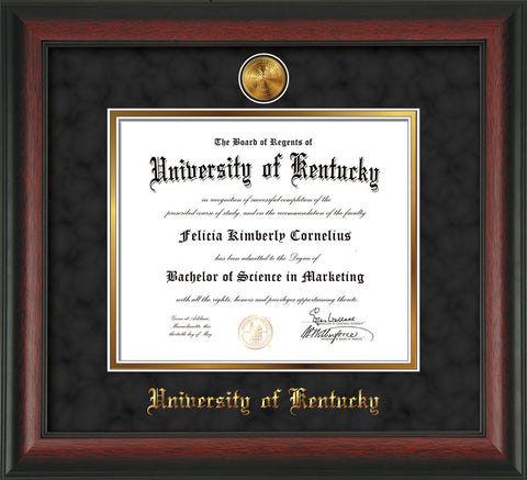 Image of University of Kentucky Diploma Frame - Rosewood - w/24k Gold-Plated Medallion UKY Name Embossing - Black Suede on Gold mats
