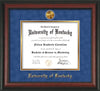 Image of University of Kentucky Diploma Frame - Rosewood - w/24k Gold-Plated Medallion UKY Name Embossing - Royal Blue Suede on Gold mats