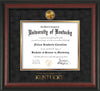 Image of University of Kentucky Diploma Frame - Rosewood - w/24k Gold-Plated Medallion UKY Wordmark Embossing - Black Suede on Gold mats