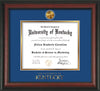 Image of University of Kentucky Diploma Frame - Rosewood - w/24k Gold-Plated Medallion UKY Wordmark Embossing - Royal Blue on Gold mats