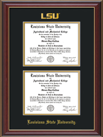 Image of Louisiana State University Diploma Frame - Cherry Lacquer - w/Embossed LSU Seal & Name - Double Diploma - Black on Gold mat
