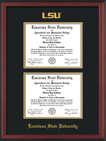 Image of Louisiana State University Diploma Frame - Satin Black - w/Embossed LSU Seal & Name - Double Diploma - Black on Gold mat