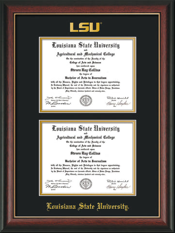 Image of Louisiana State University Diploma Frame - Rosewood w/Gold Lip - w/Embossed LSU Seal & Name - Double Diploma - Black on Gold mat
