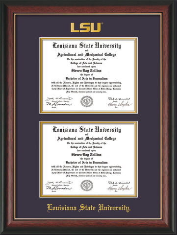 Image of Louisiana State University Diploma Frame - Rosewood w/Gold Lip - w/Embossed LSU Seal & Name - Double Diploma - Purple on Gold mat