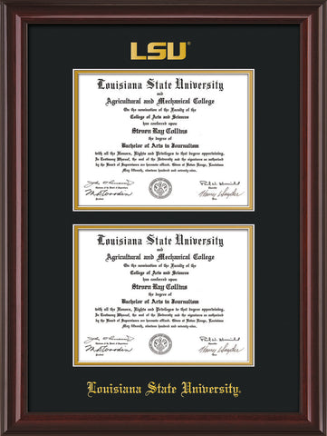 Image of Louisiana State University Diploma Frame - Mahogany Lacquer - w/Embossed LSU Seal & Name - Double Diploma - Black on Gold mat