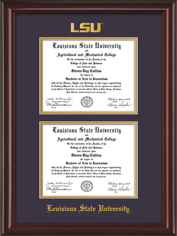 Image of Louisiana State University Diploma Frame - Mahogany Lacquer - w/Embossed LSU Seal & Name - Double Diploma - Purple on Gold mat