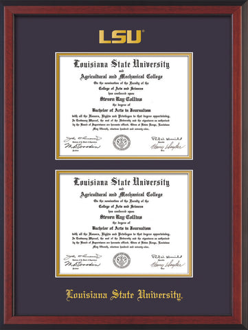 Image of Louisiana State University Diploma Frame - Cherry Reverse - w/Embossed LSU Seal & Name - Double Diploma - Purple on Gold mat
