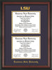 Image of Louisiana State University Diploma Frame - Rosewood - w/Embossed LSU Seal & Name - Double Diploma - Purple on Gold mat