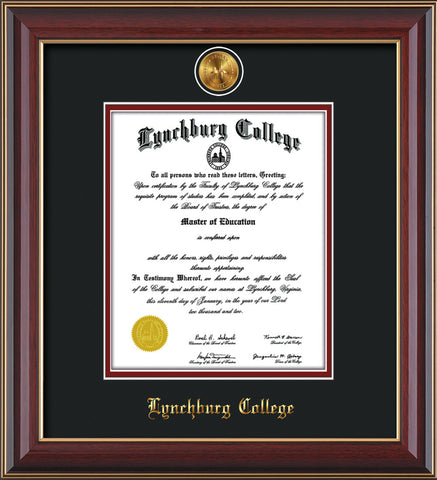 Image of Lynchburg College Diploma Frame - Cherry Lacquer - w/24k Gold Plated Medallion LC Name Embossing - Black on Crimson Mat